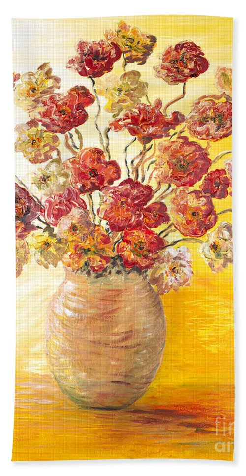 Flowers Hand Towel featuring the painting Textured Flowers In A Vase by Nadine Rippelmeyer