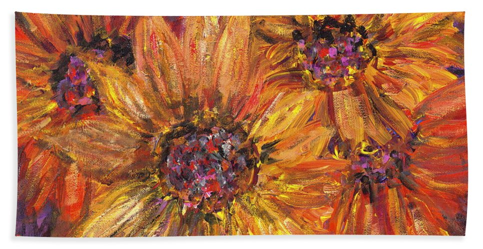 Yellow Bath Sheet featuring the painting Textured Gold And Red Sunflowers by Nadine Rippelmeyer