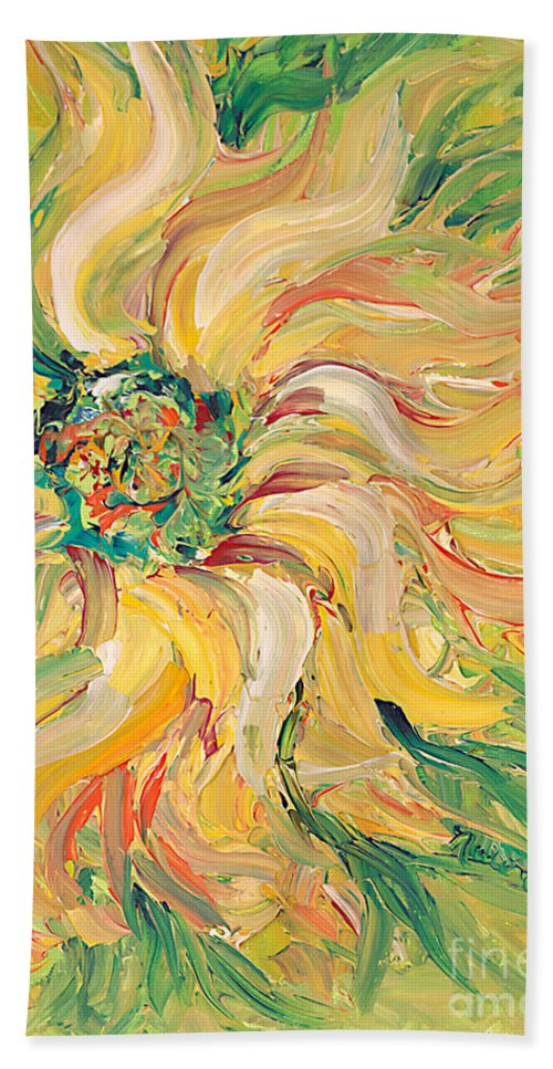 Texture Bath Sheet featuring the painting Textured Green Sunflower by Nadine Rippelmeyer