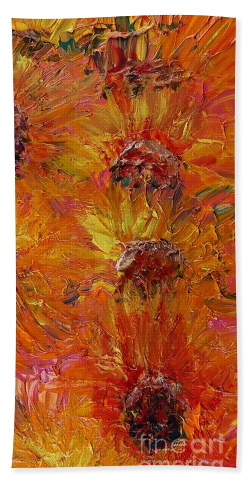 Sunflowers Bath Towel featuring the painting Textured Sunflowers by Nadine Rippelmeyer