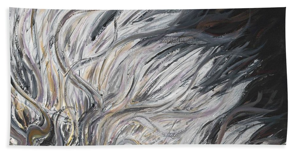 White Bath Towel featuring the painting Textured White Sunflower by Nadine Rippelmeyer