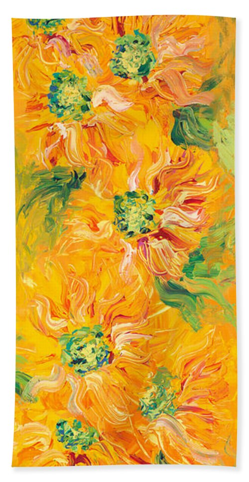 Yellow Bath Sheet featuring the painting Textured Yellow Sunflowers by Nadine Rippelmeyer