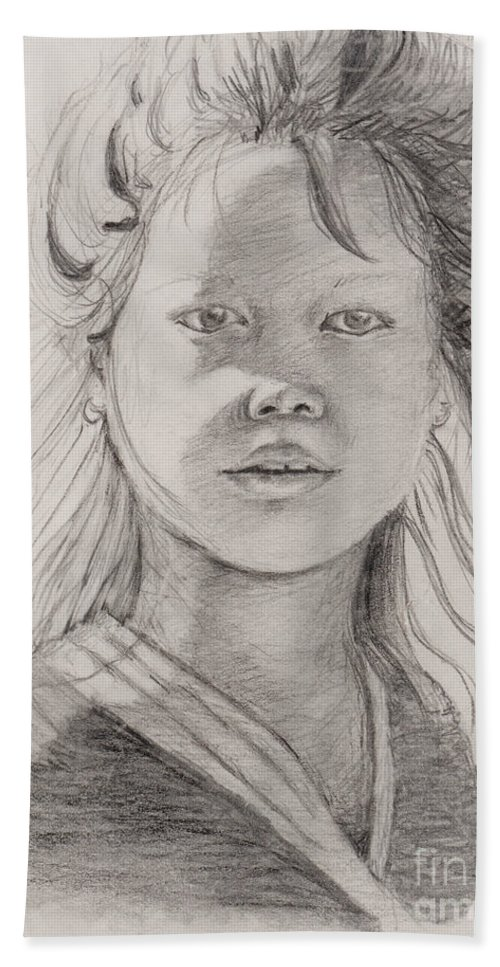 Portrait Bath Sheet featuring the drawing Thai Beauty by Nadine Rippelmeyer