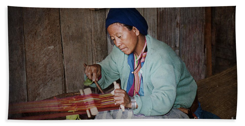 Women Hand Towel featuring the photograph Thai Weaving Tradition by Heiko Koehrer-Wagner
