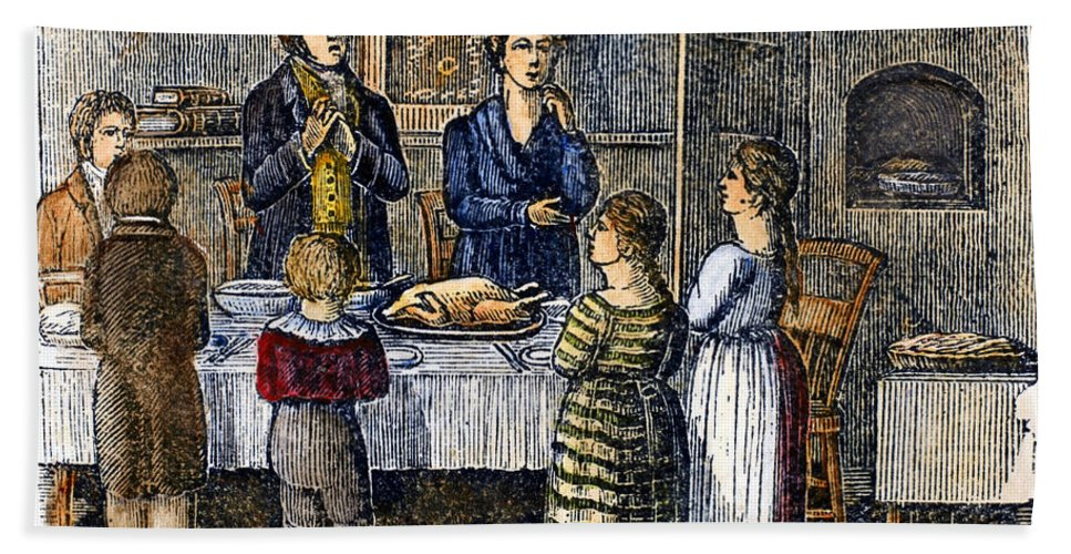 1853 Bath Sheet featuring the photograph Thanksgiving, 1853 by Granger
