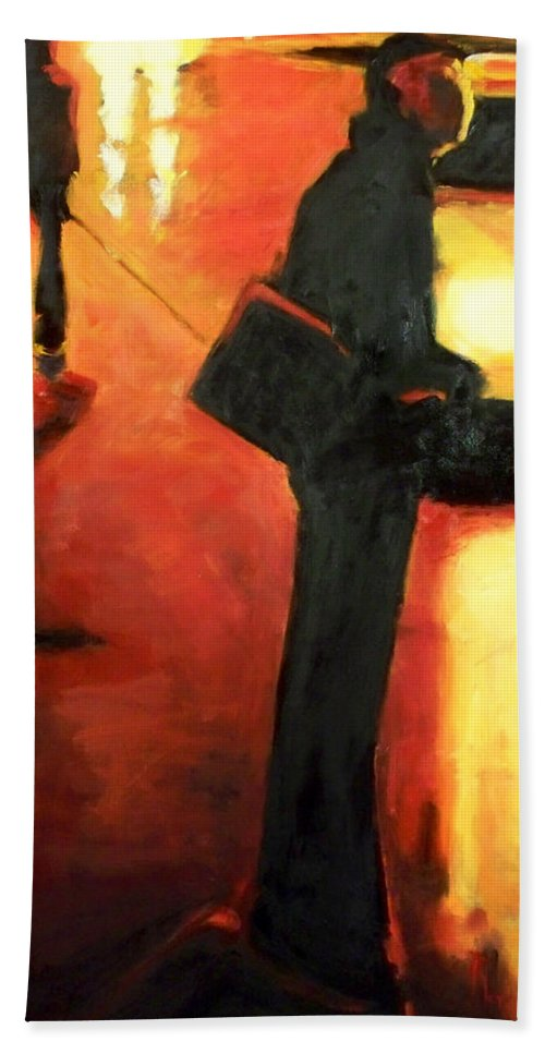 Rob Hand Towel featuring the painting That First Step by Robert Reeves