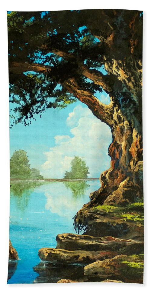 Trees Hand Towel featuring the painting That Special Place by Marco Antonio Aguilar