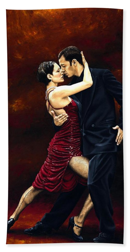 Tango Bath Sheet featuring the painting That Tango Moment by Richard Young