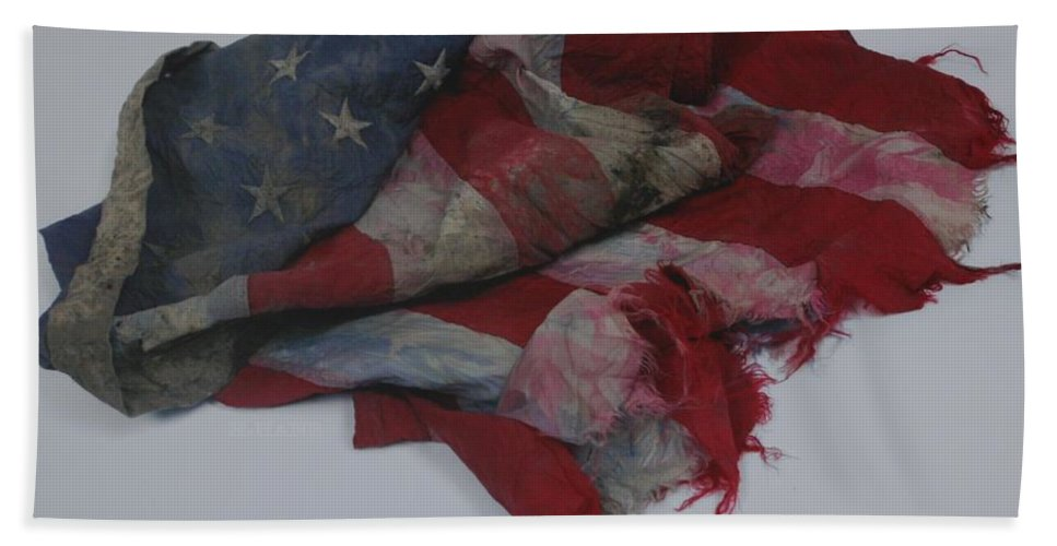 911 Bath Sheet featuring the photograph The 9 11 W T C Fallen Heros American Flag by Rob Hans
