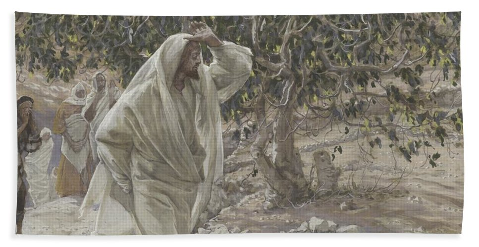 Tissot Bath Sheet featuring the painting The Accursed Fig Tree by Tissot