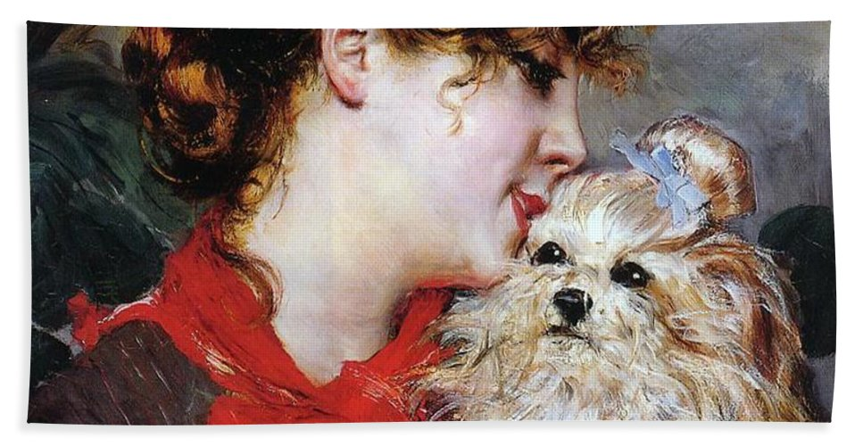 The Actress Rejane And Her Dog Bath Towel featuring the painting The Actress Rejane And Her Dog by Giovanni Boldini