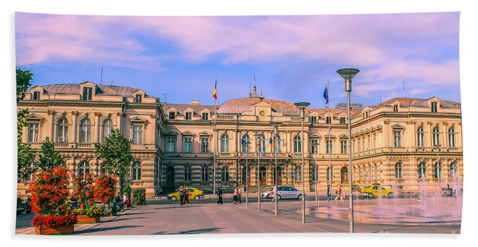 Urban Hand Towel featuring the photograph The Administrative Palace by Claudia M Photography