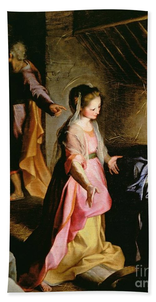 Nativity Hand Towel featuring the painting The Adoration Of The Child by Federico Fiori Barocci or Baroccio