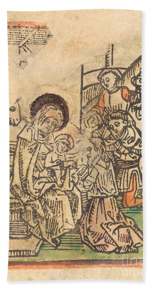 Hand Towel featuring the drawing The Adoration Of The Magi by German 15th Century