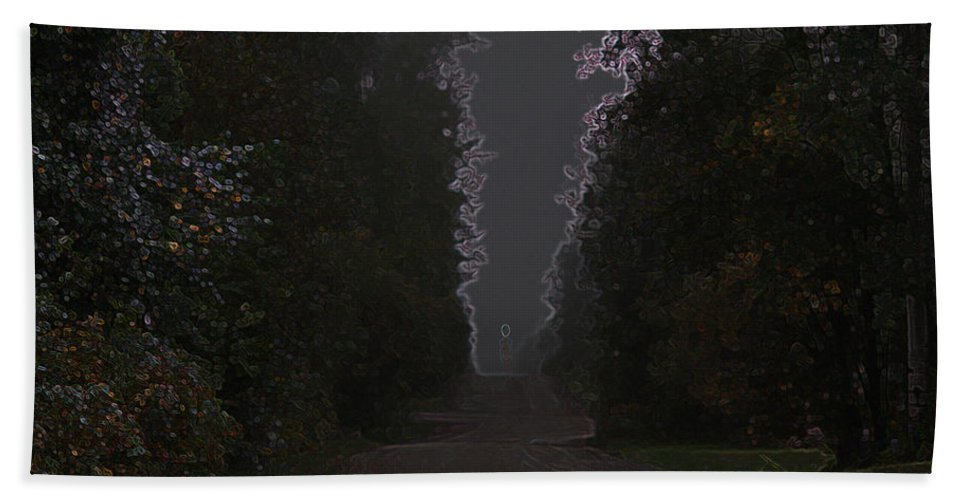 Road Ghost Boy Trees Laneway Treed Nature Colorful Leaves Plants Stones Hand Towel featuring the photograph The Adventurer by Andrea Lawrence