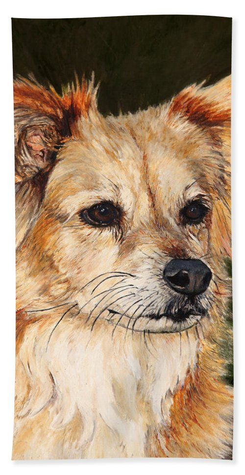 Dogs Hand Towel featuring the painting The Adventurous Dog by Portraits By NC