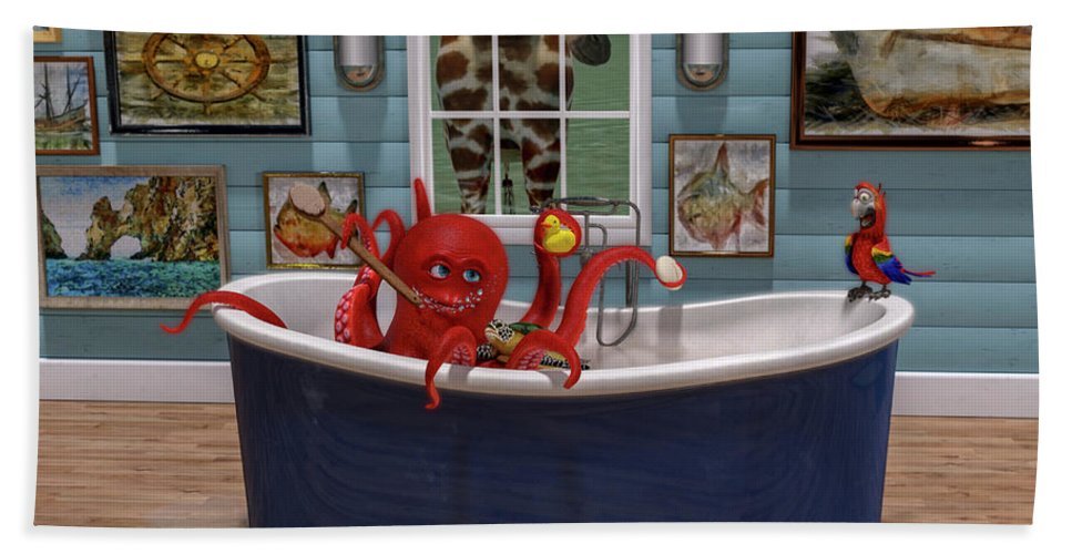 Octopus Bath Towel featuring the digital art The Afternoon Soak by Betsy Knapp