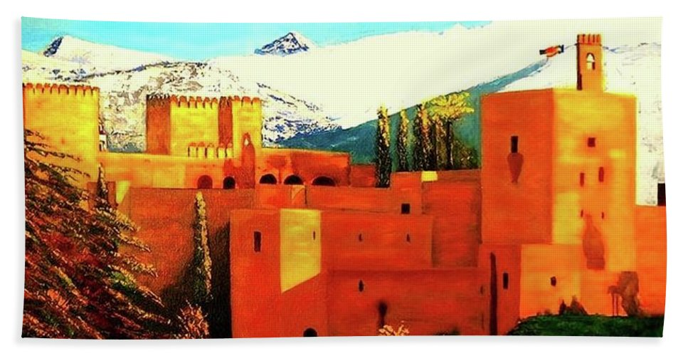 Landscapes Painting Bath Sheet featuring the painting The Alhambra Of Granada by Manuel Sanchez