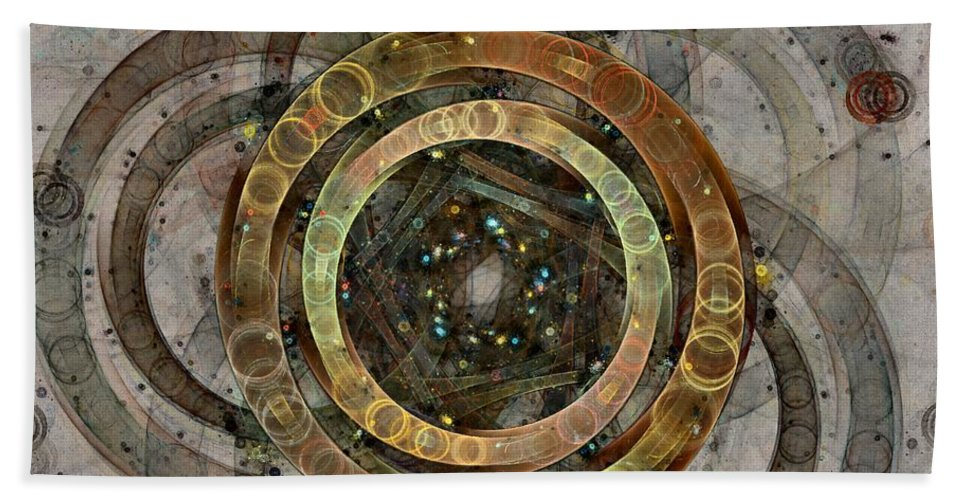 Circles Bath Towel featuring the digital art The Almagest - Homage To Ptolemy - Fractal Art by NirvanaBlues