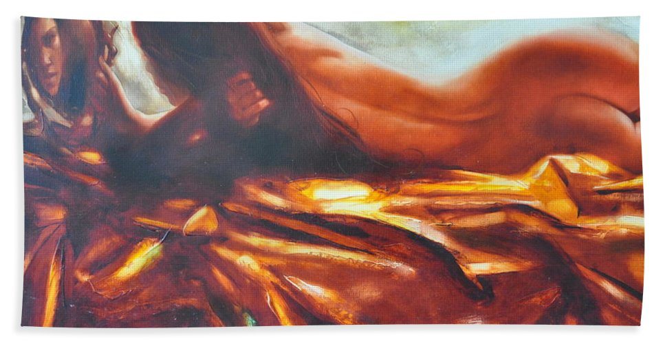 Painting Bath Towel featuring the painting The Amber Speck Of Light by Sergey Ignatenko