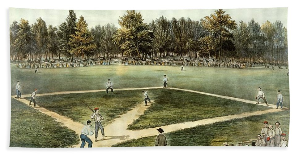 The Hand Towel featuring the painting The American National Game Of Baseball Grand Match At Elysian Fields by Currier and Ives