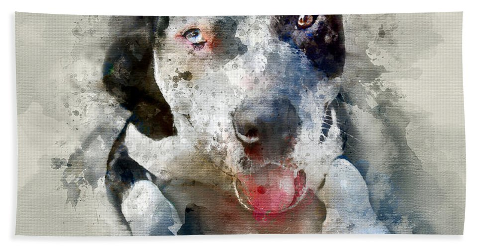 American Pitbull Hand Towel featuring the painting The American Pitbull by Jon Neidert