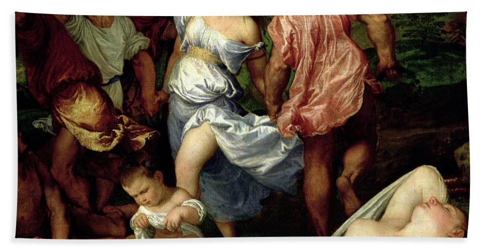The Bath Towel featuring the painting The Andrians by Titian