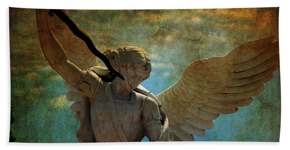 Angel Hand Towel featuring the photograph The Angel Of The Last Days by Susanne Van Hulst