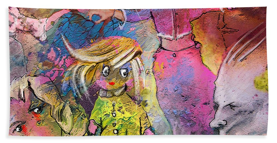 Fantasy Bath Sheet featuring the painting The Angry Father by Miki De Goodaboom
