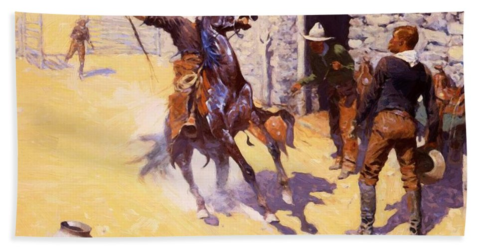 The Hand Towel featuring the painting The Apaches by Remington Frederic