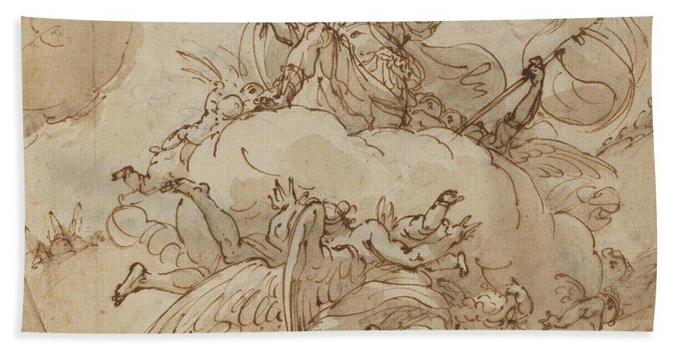 Hand Towel featuring the drawing The Apotheosis Of San Vitale by Ubaldo Gandolfi