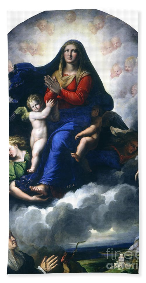 Hand Towel featuring the painting The Apparition Of The Virgin by Girolamo Da Carpi