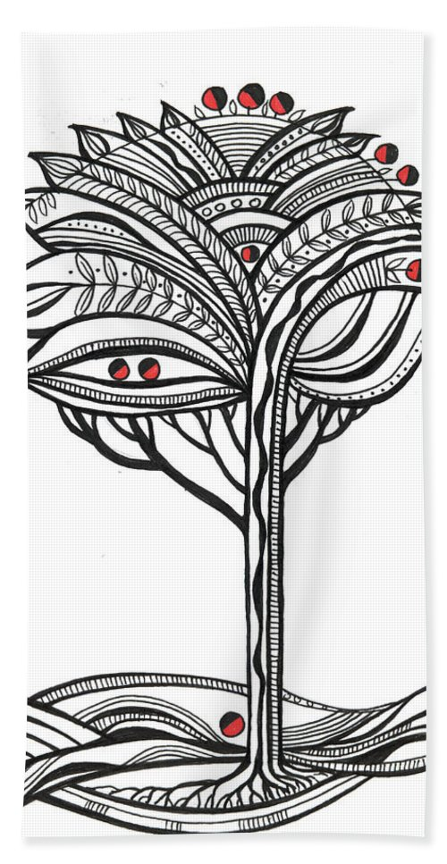 Abstract Hand Towel featuring the drawing The Apple Tree by Aniko Hencz