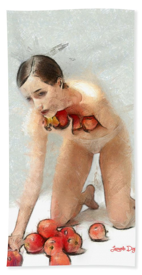 Adults Hand Towel featuring the painting The Apples Keeper by Leonardo Digenio