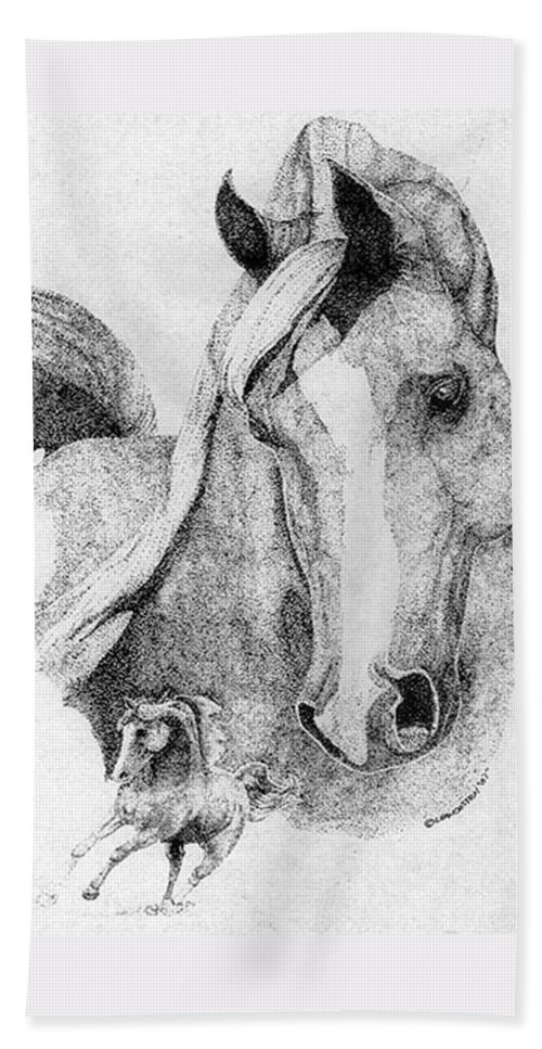 Horse Hand Towel featuring the drawing The Arabian Stallion by Lucien Van Oosten