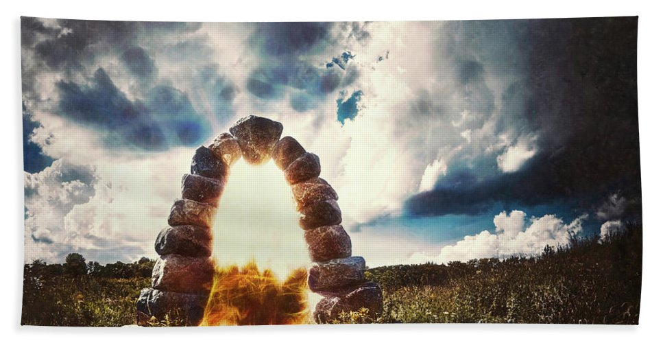 Stone Arch Hand Towel featuring the photograph The Arch On The Edge Of Forever by Scott Norris
