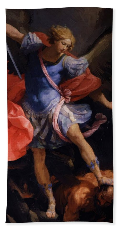 The Hand Towel featuring the painting The Archangel Michael Defeating Satan 1635 by Reni Guido