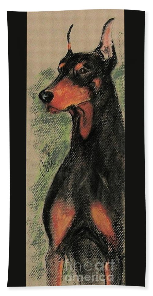 Doberman Pinscher Bath Towel featuring the drawing The Aristocrat by Cori Solomon