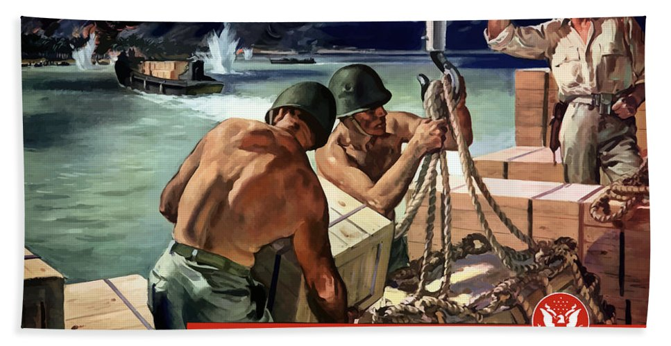 World War Ii Hand Towel featuring the painting The Army Needs Lumber For Crates And Boxes by War Is Hell Store