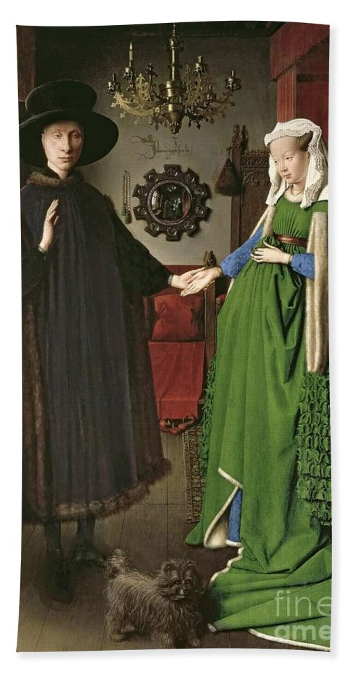 The Bath Towel featuring the painting The Arnolfini Marriage by Jan van Eyck
