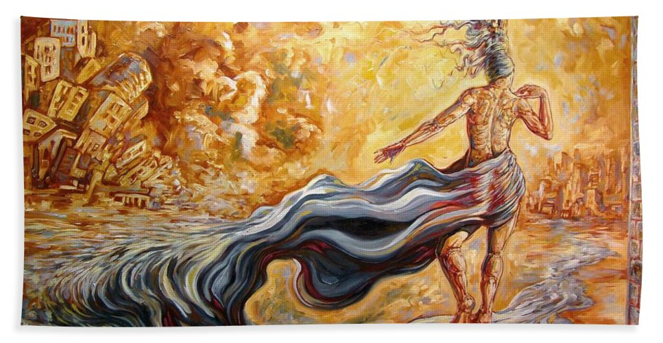 Surrealism Bath Sheet featuring the painting The Arrival Of The Goddess Of Consciousness by Darwin Leon