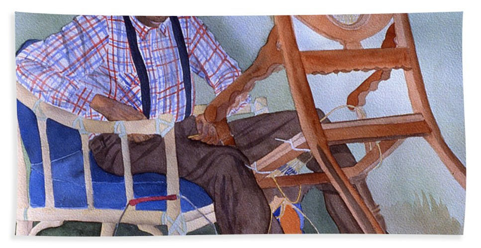 Portrait Hand Towel featuring the painting The Art Of Caning by Jean Blackmer