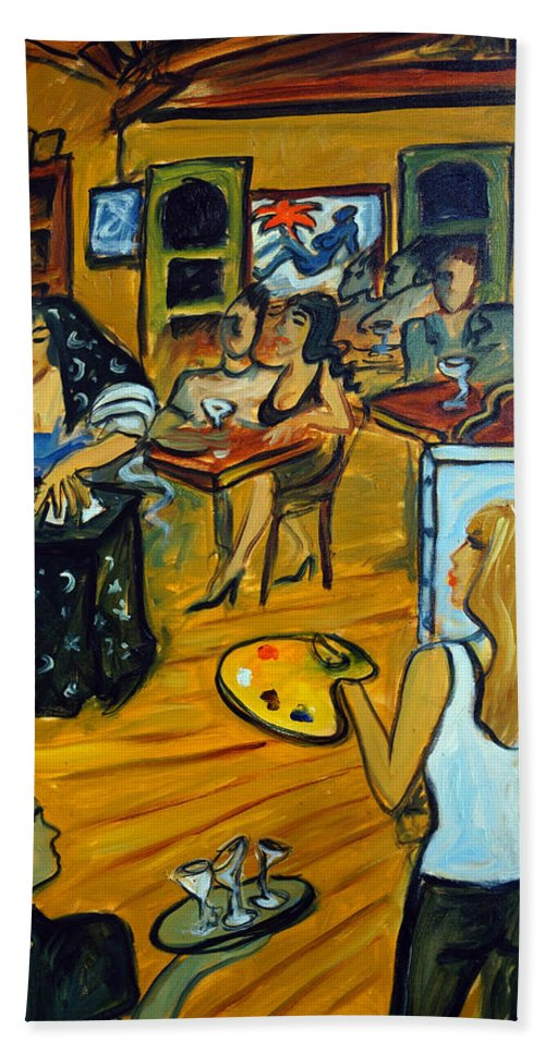 Cafe Tu Tu Tango Bath Sheet featuring the painting The Artist And The Fortune Teller by Valerie Vescovi