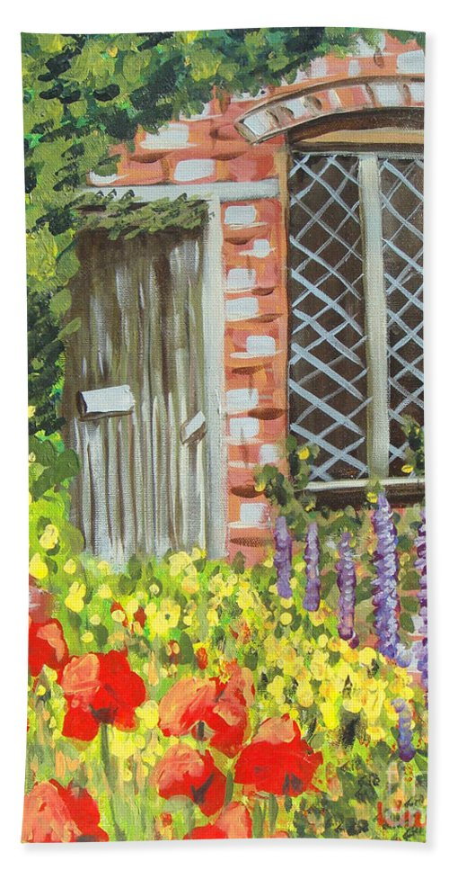 Windows Bath Towel featuring the painting The Artist's Cottage by Laurie Morgan