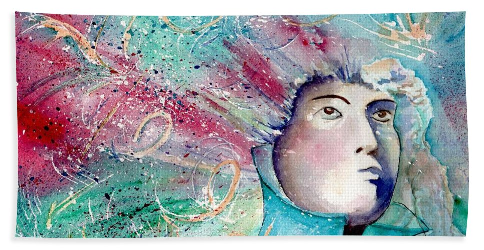 Watercolor Bath Sheet featuring the painting The Artist's Mind by Brenda Owen