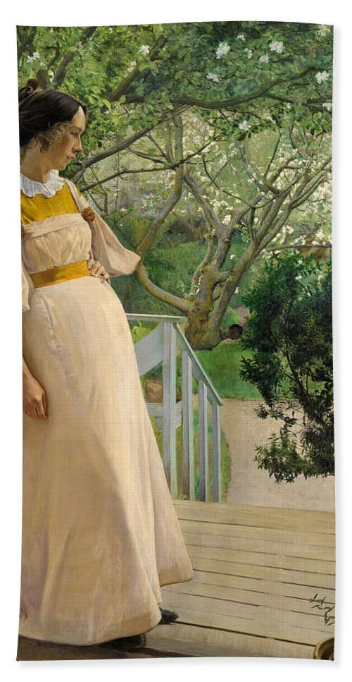 Laurits Andersen Ring Hand Towel featuring the painting The Artist's Wife by Laurits Andersen Ring