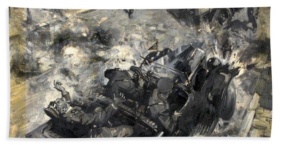 Painting Hand Towel featuring the painting The Assassination Of Reinhard Heydrich by Mountain Dreams