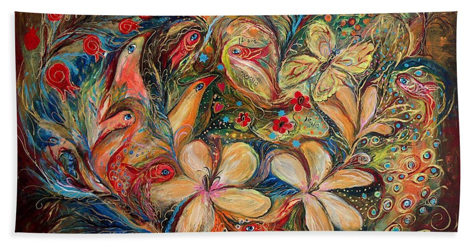 Original Bath Sheet featuring the painting The Autumn Wind by Elena Kotliarker