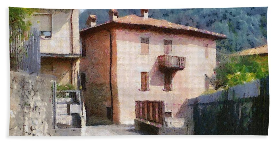 Alps Bath Sheet featuring the painting The Back Street Towards Home by Jeffrey Kolker