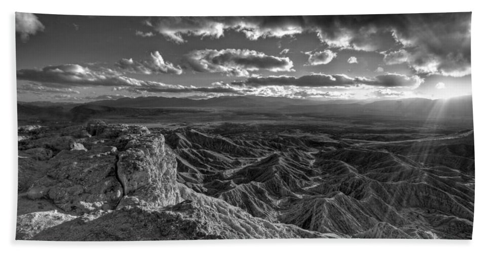 Anza-borrego Desert Bath Sheet featuring the photograph The Badlands by Peter Tellone